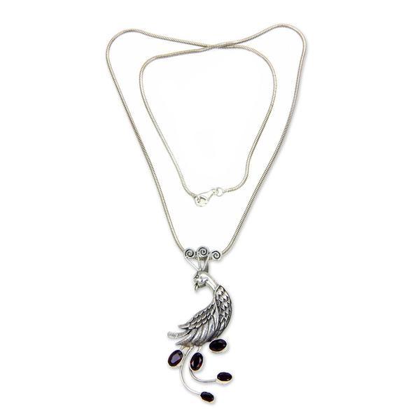 Garnet Pendant Necklace, 'Peahen In Love' (Indonesia) 26881090