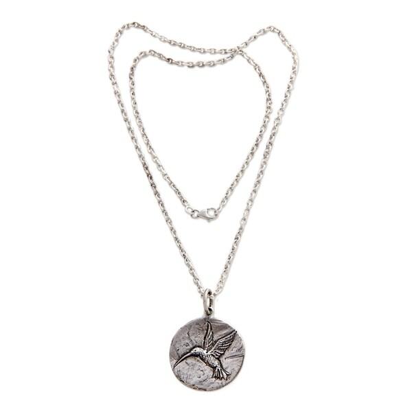 Handmade Sterling Silver Pendant Necklace, 'Hummingbird Magic' (Indonesia) 26881100