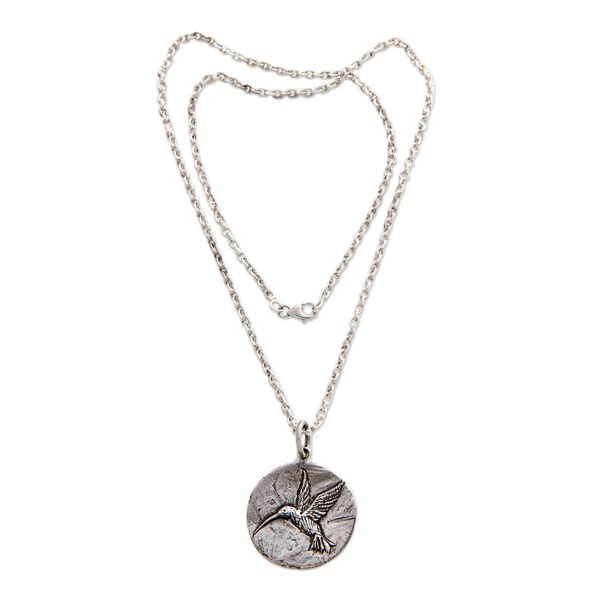 Sterling Silver Pendant Necklace, 'Hummingbird Magic' (Indonesia) 26881100