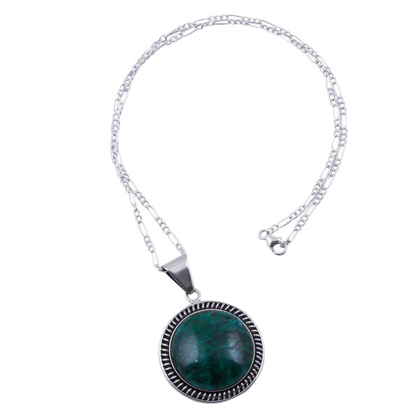 Chrysocolla Pendant Necklace, 'Moon Over Lima' (Peru) 26881117