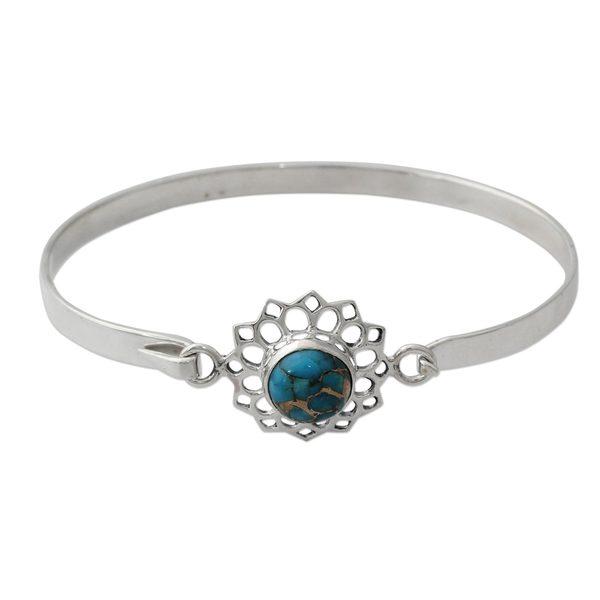 Sterling Silver Bangle Bracelet, 'Star of Gujurat' (India) 26881346