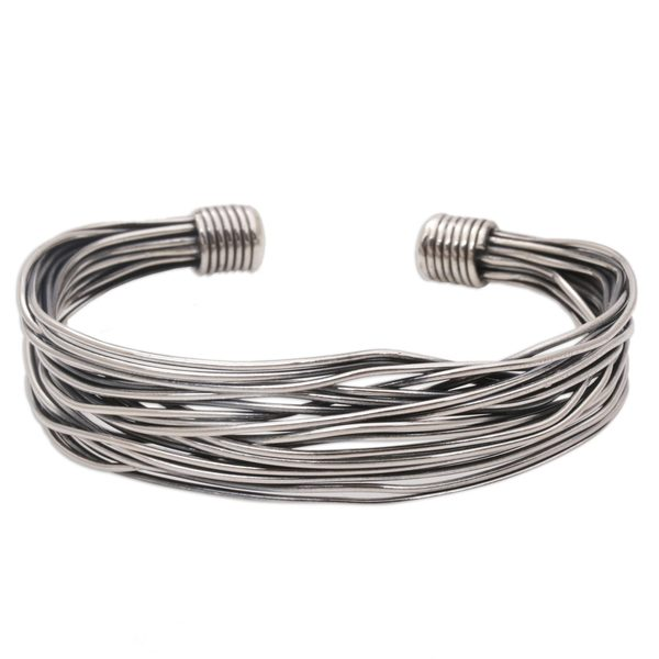 Sterling Silver Cuff Bracelet, 'Live Wire Shadow' (Indonesia) 26881546
