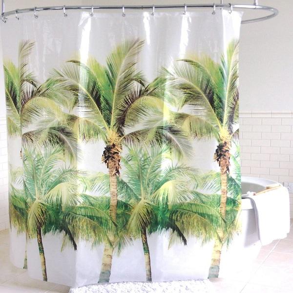 Green Palm Tree PEVA Shower Curtain (70 x 72) 26883340