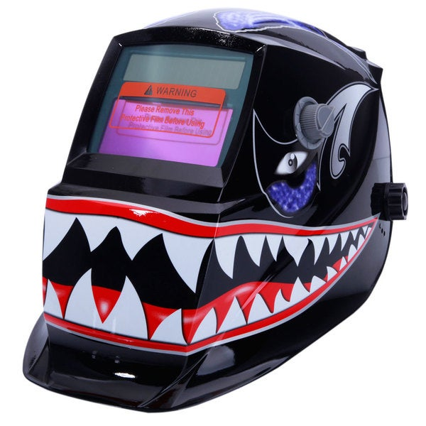 SYZ-107 Solar Powered Auto Darkening Arc Tig Mig Welding Helmet Shark Pattern 26884926