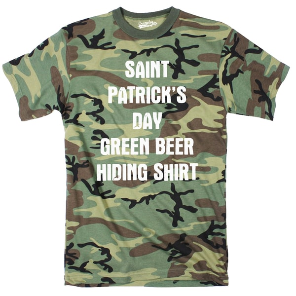 Mens Camo St. Patrick's Day Green Beer Hiding Shirt Funny Camouflage T shirt 26887442