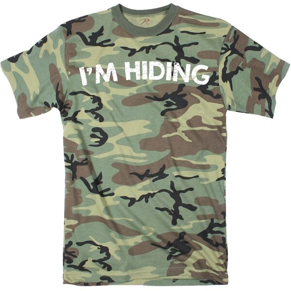 Mens I'm Hiding Funny Hunting Full Print Camouflage T shirt (Camo) 26890605