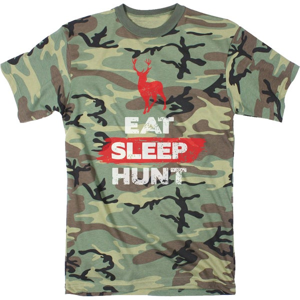 Mens Eat Sleep Hunt Funny Deer Hunting Camouflage Print T shirt (Camo) 26890611