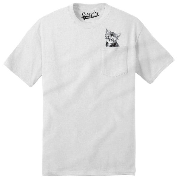 Mens Pocket Kitten Peeking Kitty Adorable Pet T shirt with Pocket (White) 26891240