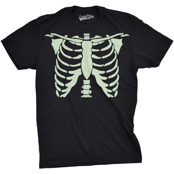 Mens Glowing Skeleton Rib Cage Cool Halloween T shirt 26893105