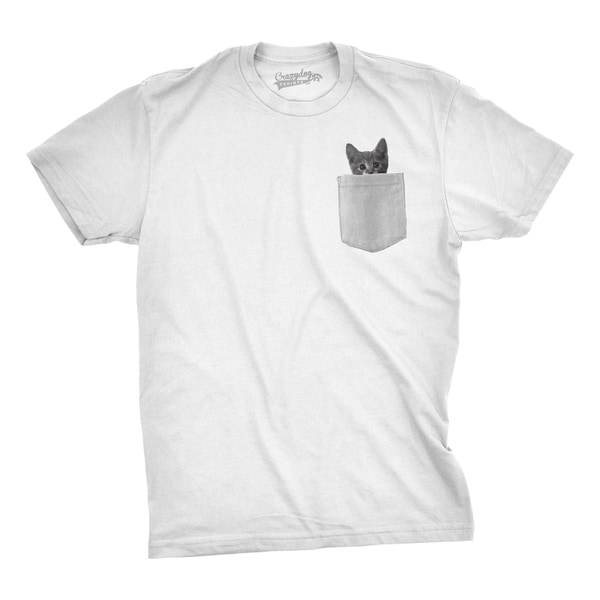Mens Pocket Cat T shirt Funny Printed Peeking Kitten T shirt 26893705