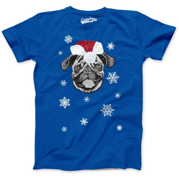 Mens Santa Pug Ugly Christmas Sweater Holiday T Shirt