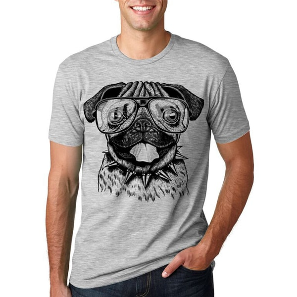 Mens Pug Wearing Glasses T-Shirt Funny Animal Tee with a Cute Dog 26893982