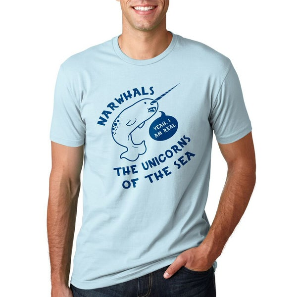 Mens Funny Narwhals Yes Im Real Unicorn of the Sea T Shirt 26894196