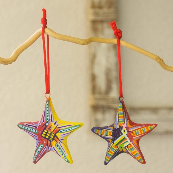 Set of 6 Handcrafted Ceramic 'Holiday Stars' Ornaments (Guatemala) 26901498