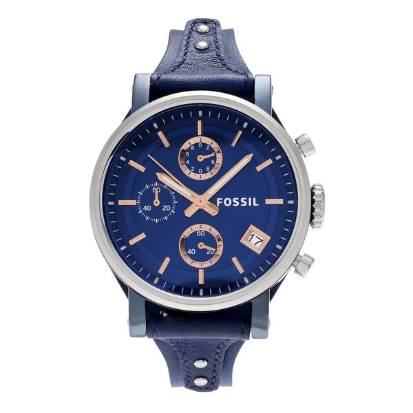 Fossil Women's ES4113 'Original Boyfriend' Two-Tone Stainless Steel Chronograph Blue Leather Strap Watch 26915109