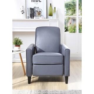 Carson Carrington Knaben Grey Faux Leather Push Back Recliner Club Chair