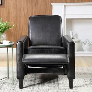 Carson Carrington Knaben Black Faux Leather Push Back Recliner Club Chair