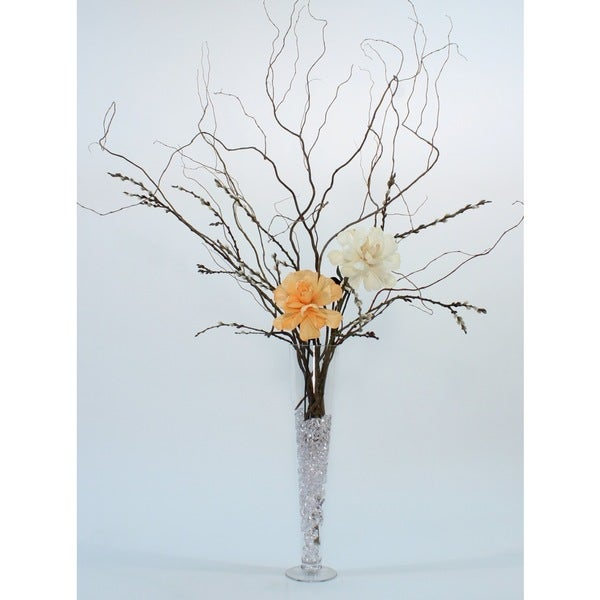 16 in. Fluted Glass Vase & DIY Giant Peach & White Peonies, Curly Willow, Pussy Willow 26924385
