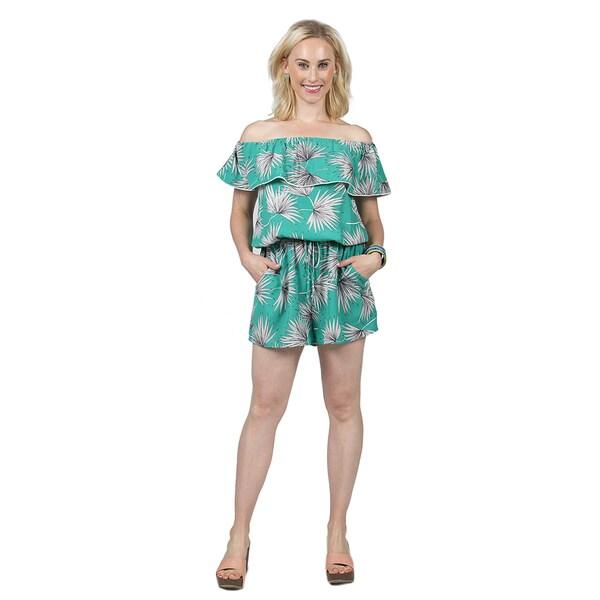 Xehar Women's Off Shoulder Plant Print Romper 26931469