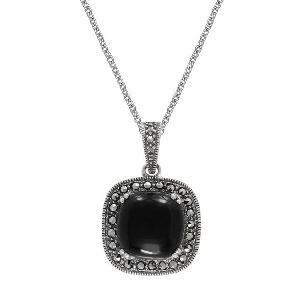 "MARC Sterling Silver Pendant Cabochon Cushion Cut Black Onyx & Marcasite in 18"" chain 26985621"