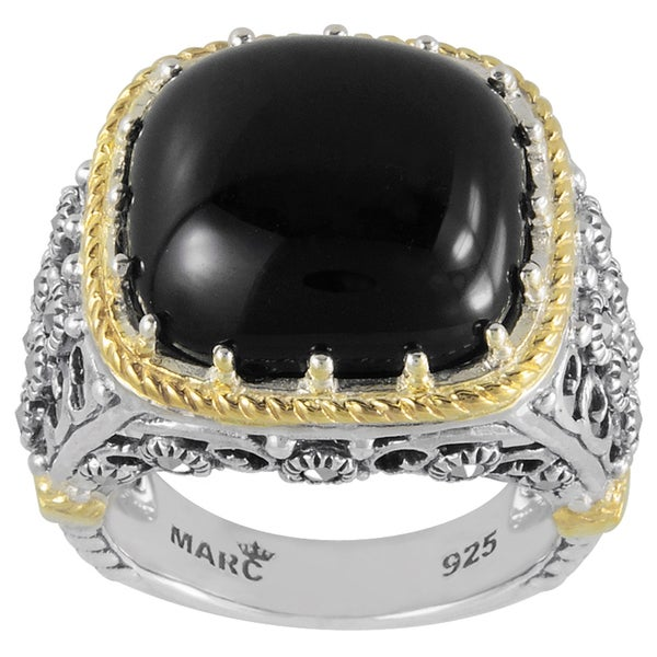 MARC Sterling Silver Ring Set With Cabochon Cushion Cut Black Onxy & Marcasite, accented with 14K Yellow Gold Trim 26985743