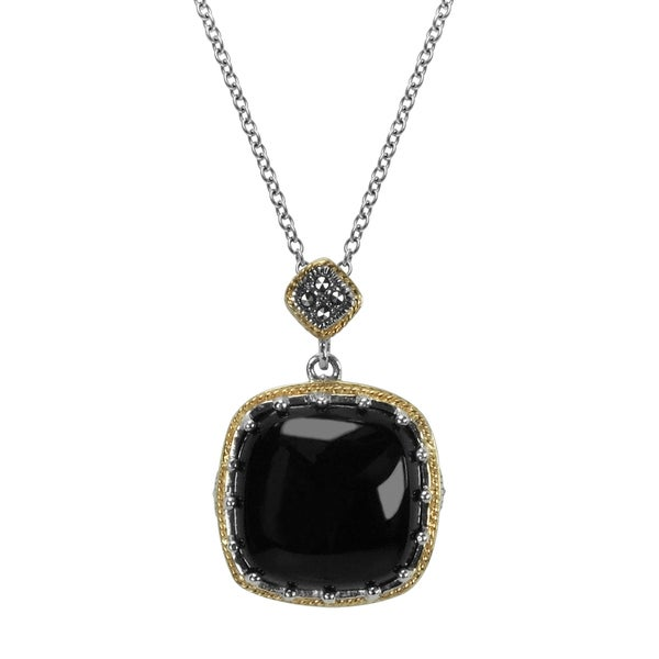 "MARC Sterling Silver Pendant Cabochon Square Cut Black Onxy & Marcasite, accented with 14K Yellow Gold Trim Pendant in 18"" chain 26987038"