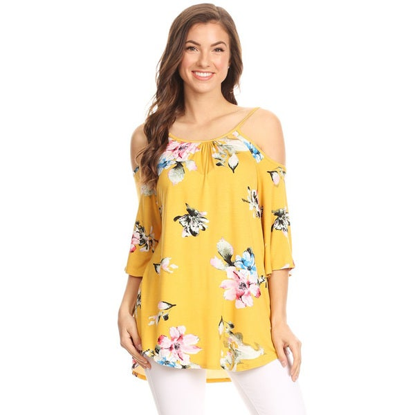 Women's Yellow Floral Pattern Cutout Tunic 26991284