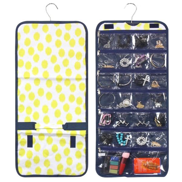 Zodaca Yellow Dots Blue Trim Jewelry Hanging Travel Organizer Roll Bag Necklace Storage Holder 27011533