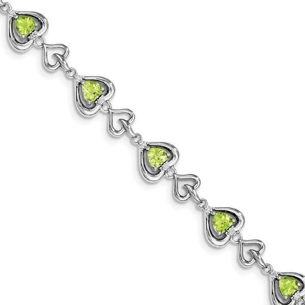 Sterling Silver Rhodium-plated Diamond & Heart Link Peridot Bracelet 27013310