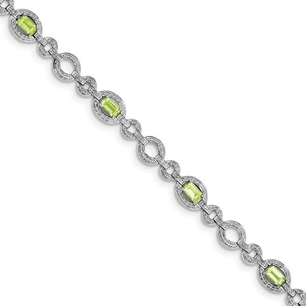 Sterling Silver Rhodium-plated Diamond & Peridot Oval Link Bracelet 27013770