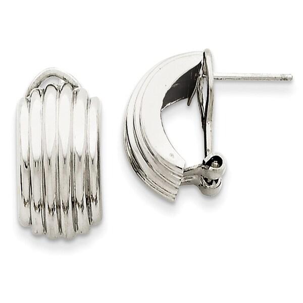 14 Karat White Gold Ribbed Omega Back Post Earrings 27014263