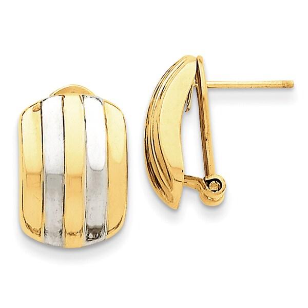 14 Karat & Rhodium Ribbed Omega Back Post Earrings 27014267