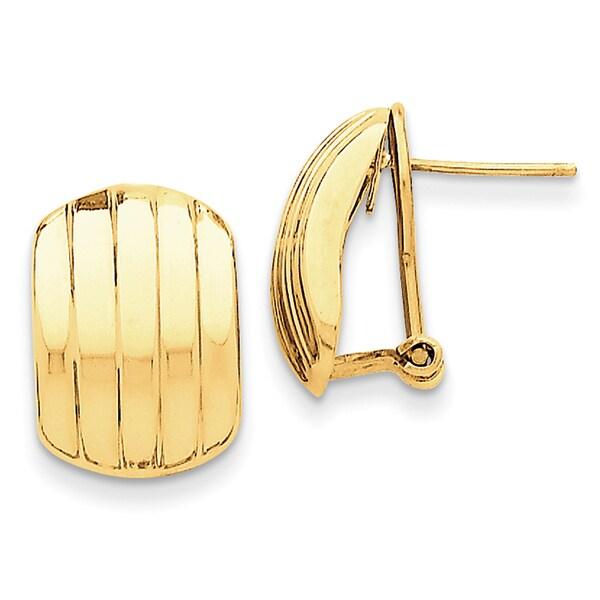 14 Karat Polished Ribbed Omega Back Post Earrings 27014388