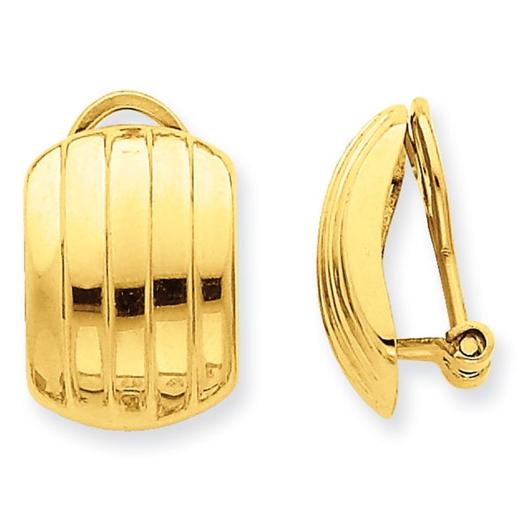 14 Karat Polished Ribbed Non-pierced Omega Back Earrings 27014391