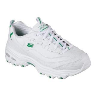 Women's Skechers D'Lites With It Sneaker White/Green 27032381