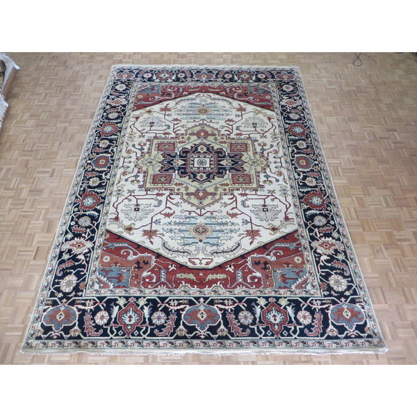 Hand Knotted Ivory Serapi Heriz with Wool Oriental Rug (9'11 x 14) 27037367