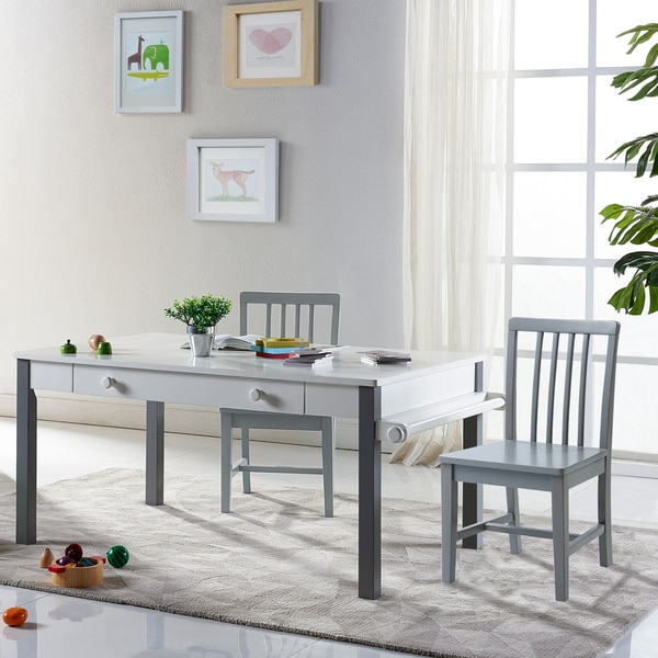 """Versanora Kids - Pittore Multi-Function Play table 23"""" H and Chair Set - White/Grey 27037492"""