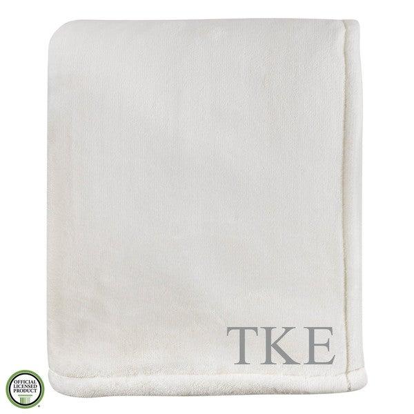 Vellux Sheared Mink Ivory Tau Kappa Epsilon Monogram Blanket 27039691