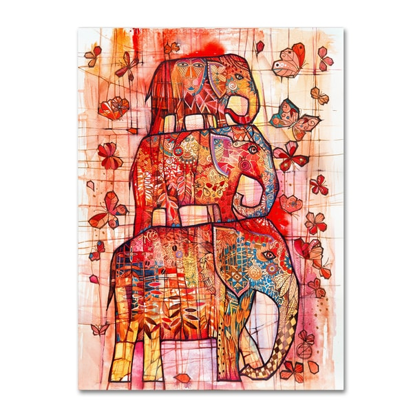 Oxana Ziaka 'Three Elephants' Canvas Art 27043853