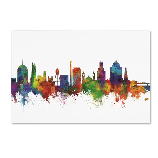 Michael Tompsett 'Durham North Carolina Skyline II' Canvas Art 27060716