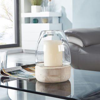 Danya B. Bullet Glass Vase/Candle Holder on Wooden Stand