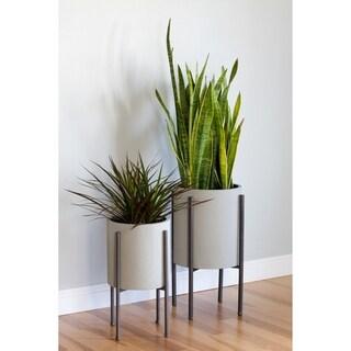Tania Grey Metal Mid-Century Planters (Set of 2) - 8' x 10'