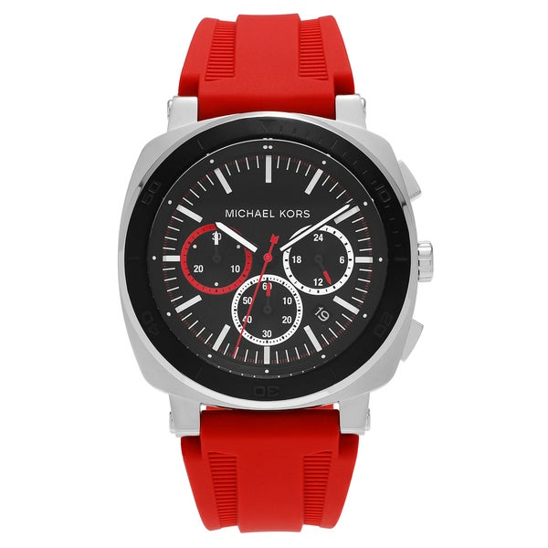 Michael Kors Men's MK8552 'Bax' Stainless Steel Black Chronograph Dial Red Silicone Strap Watch 27080976