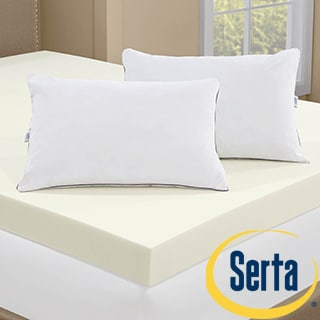 Serta 4-inch Memory Foam Mattress Topper with 2 Memory Foam Pillows