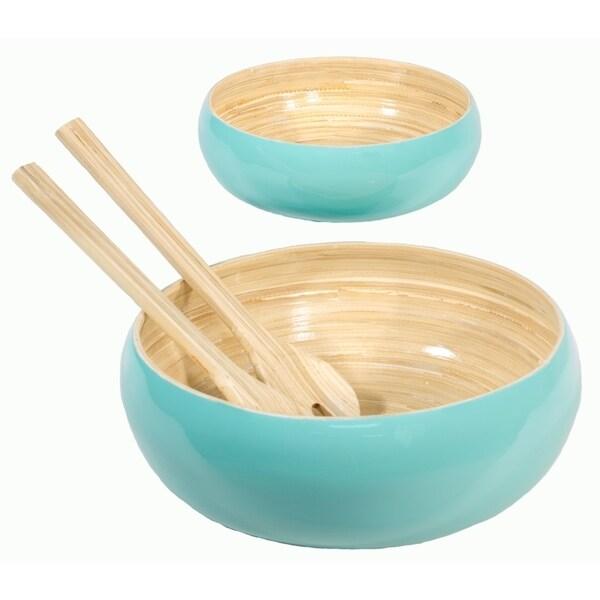Salad-Bowls Set of 2 Bamboo Salad Bowls & Serving Spoons 27115468