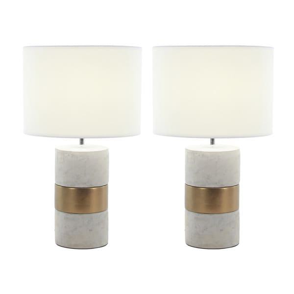 Urban Designs Elegant Concrete With Gold Accent 24-inch Table Lamp (Set of 2) 27116725