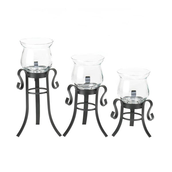 Koehler Home Decor Allure Black Iron and Glass Candle Stand Trio 27134514