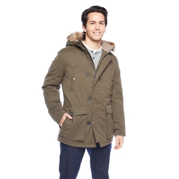 Kenneth Cole Men's Full Zip-Up and Button Closure with Flap Pockets and Faux Fur Hood Jacket 27137615