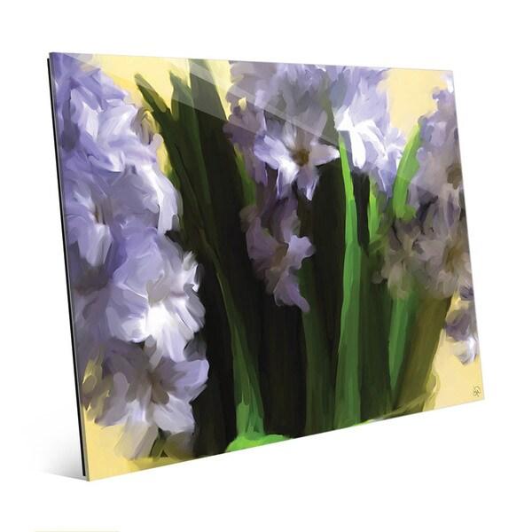 Purple Vase of Hyacinth Flowers Wall Art on Glass 27141907