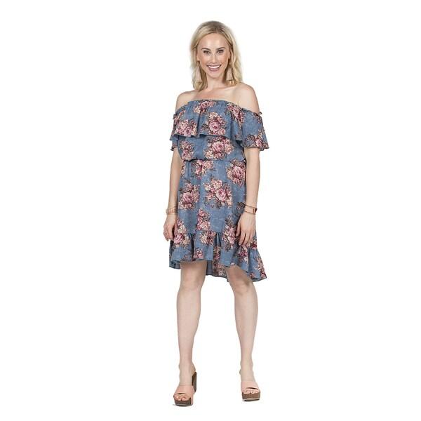 Xehar Women's Off Shoulder Floral Ruffle Dress 27150657